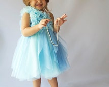 SALE. READY to  SHIP. Size 18-24 month Aqua & Blue Tulle Dress with frilly one shoulder bodice