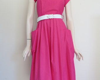Vintage 80s Retro Hot Pink Dress / Small Medium / Large Pockets
