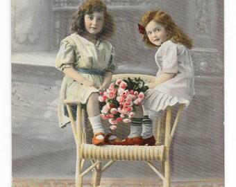 Rose Girls Photo Postcard, 1913