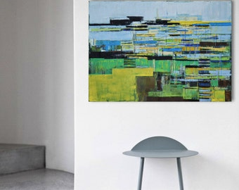 "Large canvas art 39.37/27.5(100/70cm). ""Port 78"". FREE SCHIPPING"