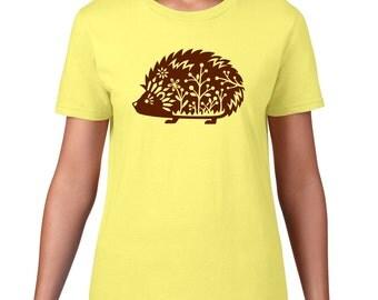 CLEARANCE FINAL SALE, Cute Hedgehog TShirt, Whimsical Hedgehog T Shirt, Hedgehog Tee, Woodland Critter, Forest Animal Tshirt