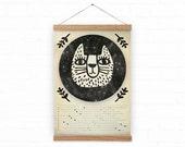 Wall Calendar 2016 - Moon - space cat  - rustic A3, A3+ size / homedecor