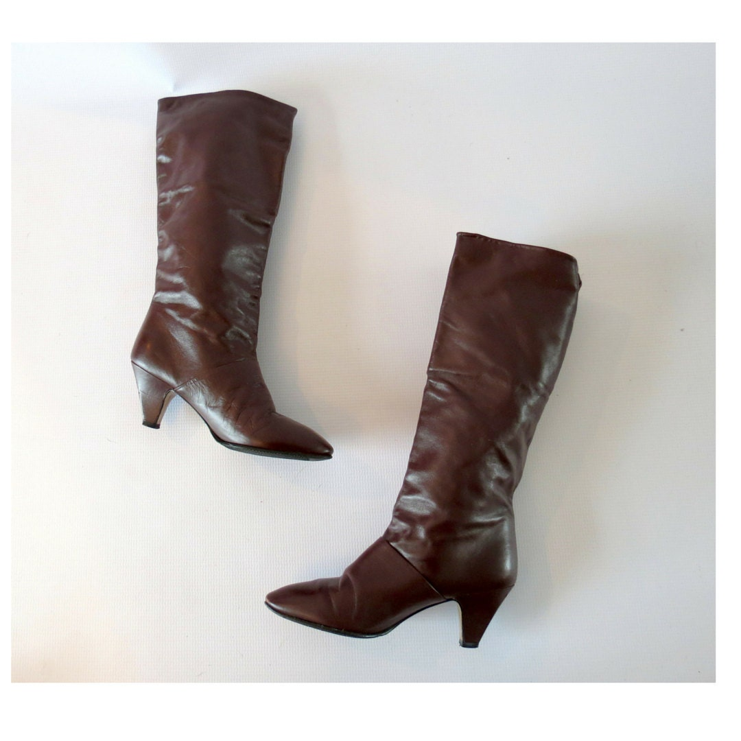 heeled boots vintage 80s boot size 6 burgundy maroon brown