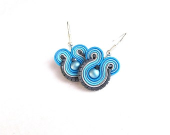 Blue Dangle Earrings, Handmande Soutache Earrings, Round Dangle Earrings, Soutache Jewelry, Blue Gray Earrings