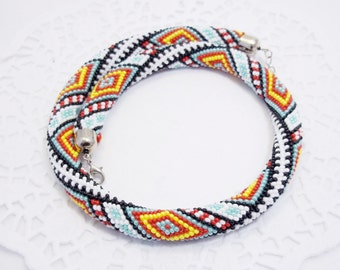 Geometric Ukrainian Bukovynets pattern crochet rope necklace traditional folk gift for her contemporary ethnic Stripes  rhombus jewelry gift