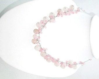 Rose Quartz Necklace by Silk Thread