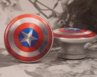 "1-1/2"" Captain America Dresser Knobs - Captain America Shield - Super Hero Knobs - Priced for One Knob"
