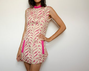 60s Psychedelic Brocade Mini Dress, Mod Metallic Cocktail Dress, Austin Power Party Pink and Golden Shift Dress, M