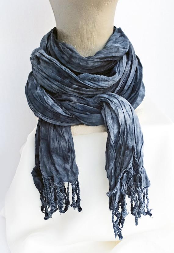 "Black scarf - grey scarf - crinkle scarf - winter scarf - fringe scarf - rayon scarf - black, grey, white - neutral - hand dyed - 20"" x 70"""
