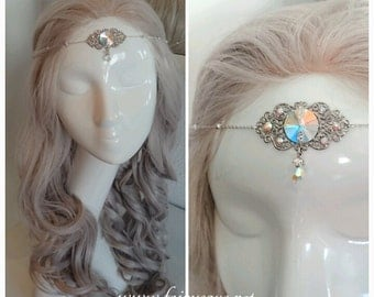 Rainbow fairy tiara Silver Iridescent Crystal Gem