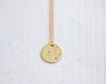 Dainty Constellation Circle Brass Necklace