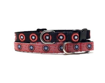 The Captain's Sheild - Red or Black | Cat Collar with Bell