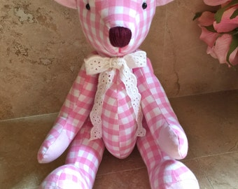Handmade Pink check pattern Teddy bear for any baby n children toy - fabric Stuffed Animal doll