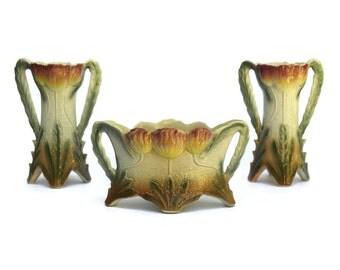 Art Nouveau Majolica Jardiniere and Tulip Vases. French Antique Garniture. Ceramic Flower Planter. Antique French Jardiniere.