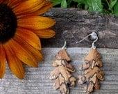 Oak Leaf Sterling Earrings, Silver Leaf Dangle earrings, Sterling Silver Boho earrings, Nature lover, Gift Under 30, Autumn Oak Leaves