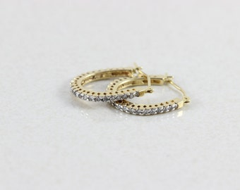 10k Yellow Gold Diamond Hoop Earrings .34  total carats