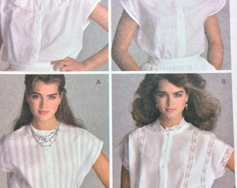 McCall's 8616 UNCUT Brooke Shields Tops Button Cap Sleeves Front Four Variations  1980's Vintage McCalls Sewing Pattern Size Small 10 12