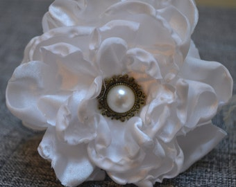 Hand made ivory satin organza flower
