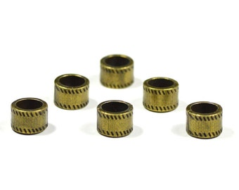 6 Antique Bronze Dreadlock Beads 7.5mm Big Hole Beads Dreads Hair Accessories