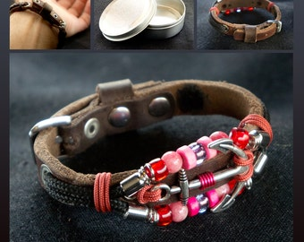 Leather Bracelet with Anchor and Red Beads, Ship Anchor Sailor Beaded Bracelet