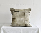 Handmade Sheepskin Decorative Pillow / Two Parts Khaki Leather Cushion with Metal Zipper.