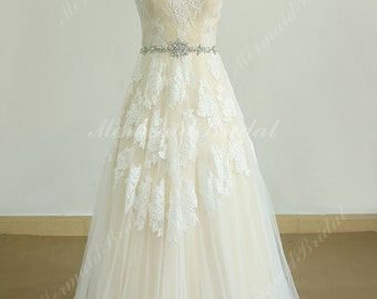 Romantic Ivory A Line tulle lace wedding dress with champagne lining and elegant beading sash