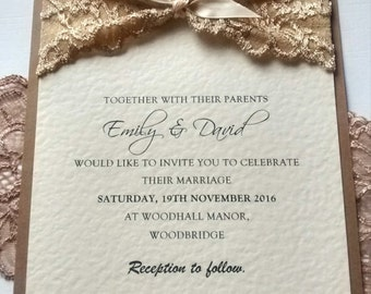 "Lace wedding invitation. ""Emily lace"" invitation"