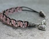 Pink Petals Catholic Christian Prayer Bracelet Movable Good Deed Beads