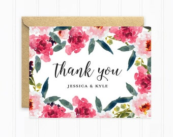 Thank You Cards, Wedding Thank You Cards, Flower Thank You Cards, Personalized