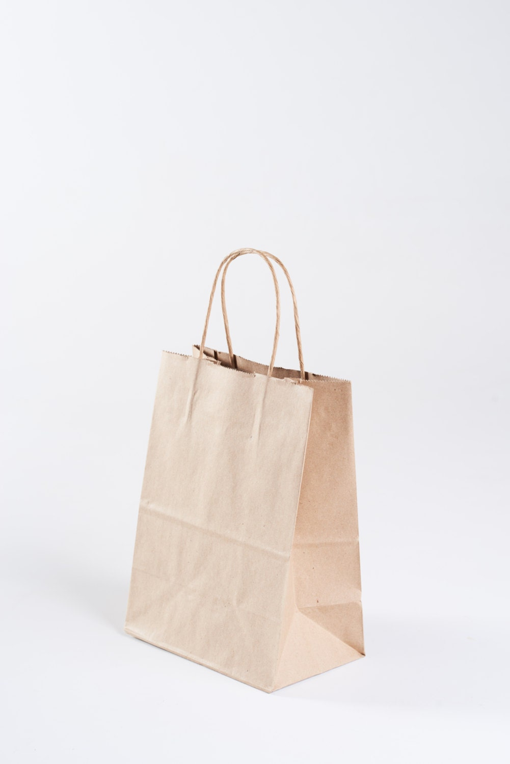 50 Bulk Kraft Paper Gift Bags With Handles Size Cub