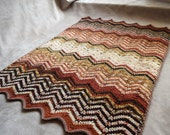 Baby blanket in earth tones, lightweight chevron blanket, zig and zag, pram blanket, stroller blanket, nursery decor, brown baby gift idea