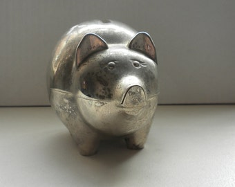 Vintage Silver Plated Piggy Bank