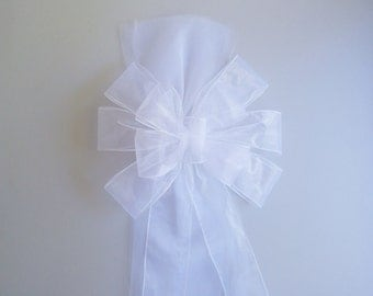 Sheer White Pew Bow With Tulle, Wedding Pew Bow,  Bridal Shower Bow, Stair Door Mailbox Tree Topper Church Decoration