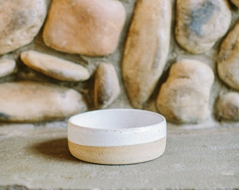 Handmade Pottery Ceramic Dog Bowl // White and Clay // Ceramic Stoneware Dog Bowl
