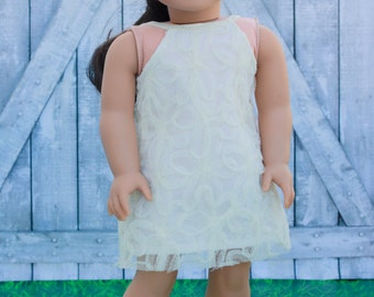 Doll Clothes | Ivory Floral Mesh Lace Overlay HALTER DRESS for 18 Inch doll such as American Girl Doll