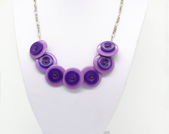 Purple button layered necklace