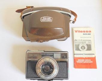 Zeiss Ikon Voigtlander Vitessa 500 AE 1960s Film Camera, Original Case & Manual, made in Germany