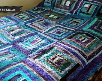 Purple Hand Dyed Quilt, Purple Full/Queen Quilt, Finished Quilt, Purple and Blue Quilt