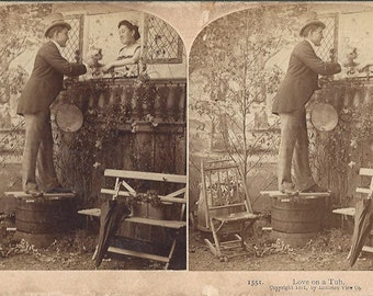 Littleton View Co Publishers - Love on a Tub - Number 1551 - Stereoview Card