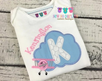 Baby Girl Airplane Outfit - Baby Girl Airplane Shirt - Airplane baby clothes - personalized plane shirt