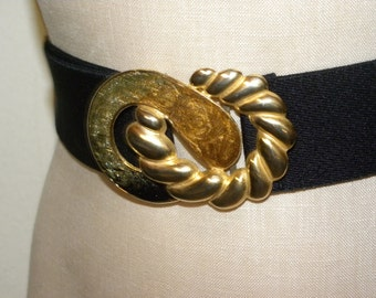 1980s stretch belt / Large Gold tone enameled buckle / Glam / Avant Garde / Black / Day-Lor USA