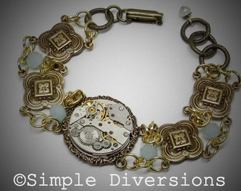 Something Blue Steampunk Bracelet by Simple Diversions Vintage Style Bohemian Chic Recycled Repurposed Neo Victorian Steampunk Gothic