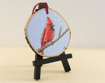 Cardinal Ornament, Bird Christmas Painting