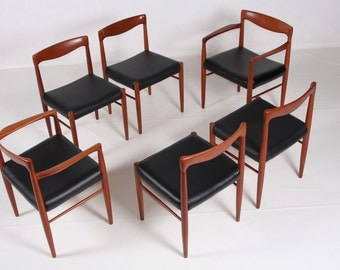 Six chairs Bramin dining room, Teak, vintage, newly upholstered with leather