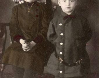 Antique RPPC of Cute Siblings