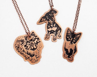 pet memorial jewelry / cat necklace / dog necklace / personalized pet portrait jewelry / cat lover gift / dog lover gift