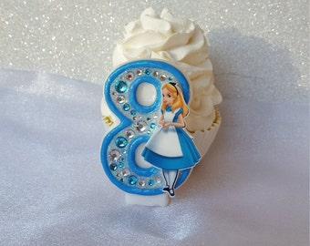 Alice in Wonderland, storybook, character, blue, birthday candle, keepsake candle, custom candle