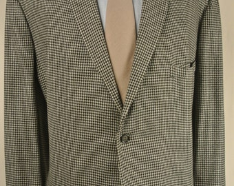 1950's DiGrassii Imperial Black/White Wool Houndstooth Sport Coat Men's Size: 48R