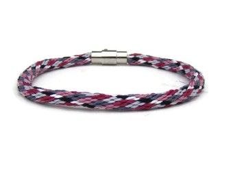 NEW-- woven pink and gray argyle kumihimo bracelet with stainless steel magnetic clasp