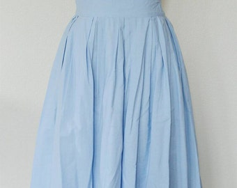 1950's Powder Blue Skirt // Cotton Skirt // M-L